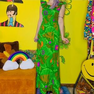 Vintage 70s psychedelic Hawaiian dress XS